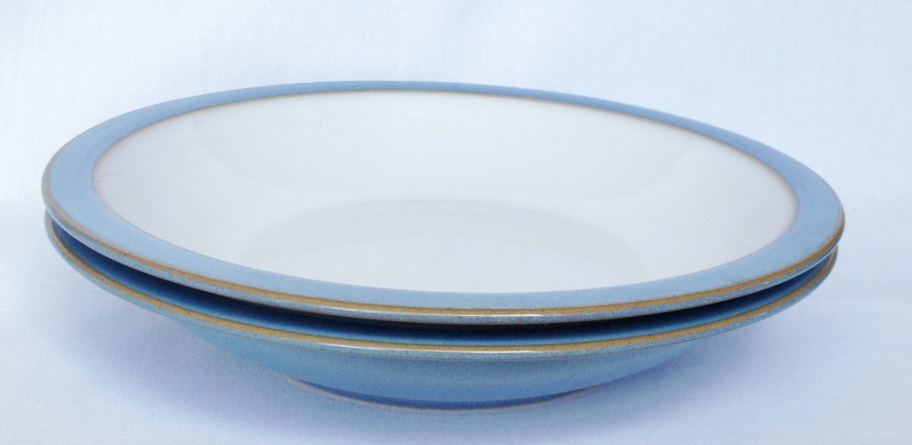Nivag Collectables: Denby - Colonial Blue: Set of 2 Rimmed Pasta Bowls