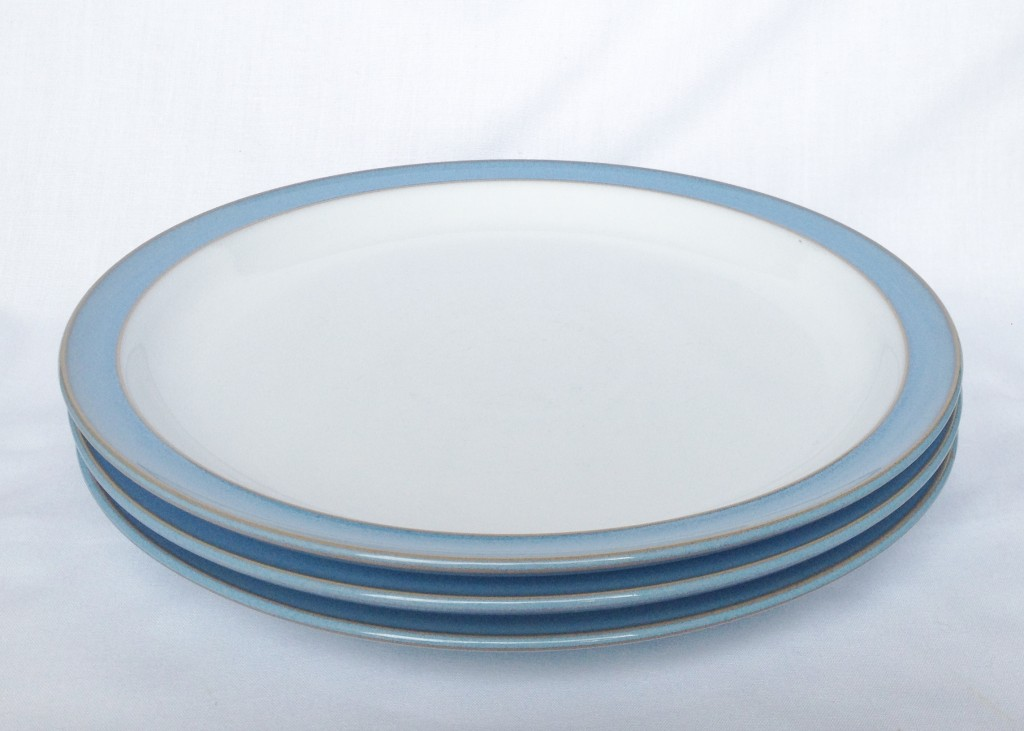 Set of 3 Dinner Plates. Denby Colonial Blue & Nivag Collectables: Denby - Colonial Blue: Set of 3 Dinner Plates
