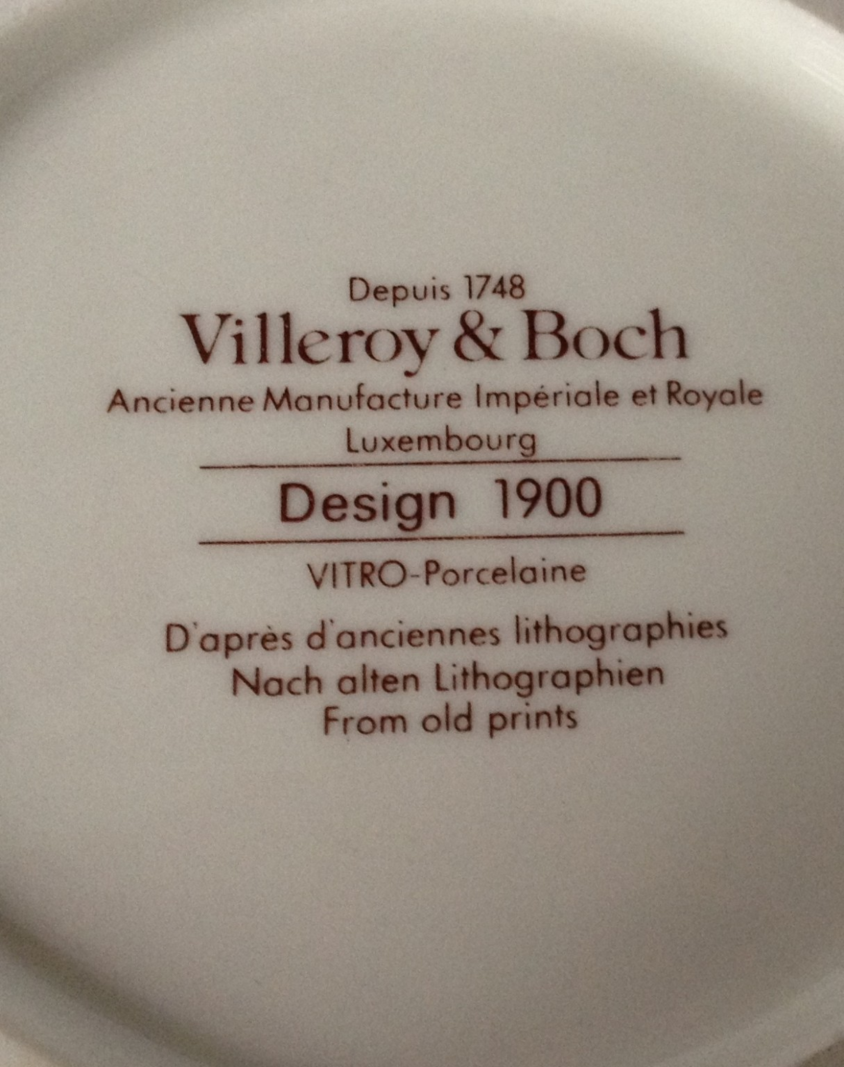 Nivag Collectables Villeroy And Boch Design 1900 Design 1900